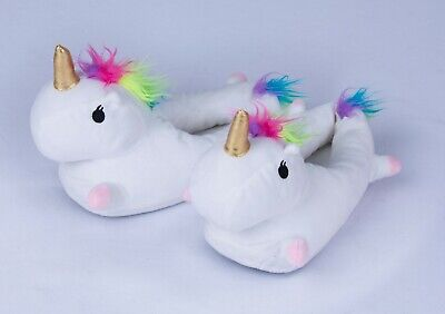 AU23.31 • Buy 1 Pair Unicorn Slippers Unisex ADULTS Soft Warm Plush Fluffy S M L Winter Home