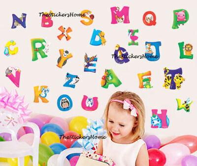 £5.39 • Buy LARGE Animal Alphabet Wall Stickers Nursery Early Learning Baby Kid Decor