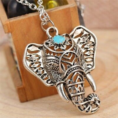 Silver Elephant Pattern Animal Turquoise Necklace Pendant Jewellery Gift Bag • 2.99£