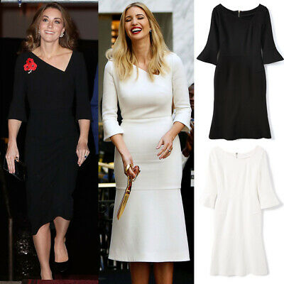 $ CDN111.65 • Buy Kate Middleton Ivanka Trump Asymmetric Neck Trumpet Fit Flare Mermaid Midi Dress