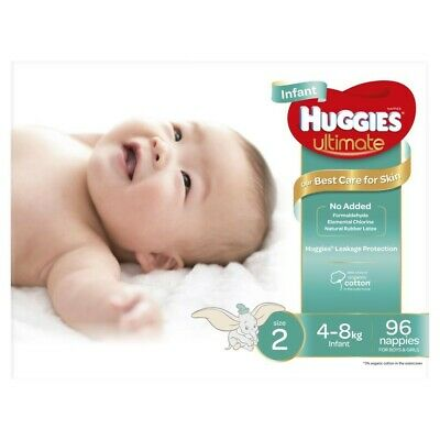 View Details Huggies Unisex Ultimate Infant Nappy 4-8 Kg Size 2 96 Pack • 27.00AU