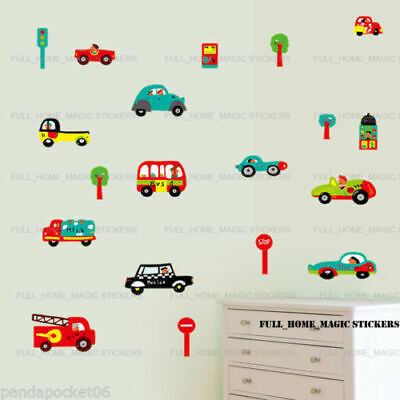 £5.29 • Buy Transport Cars Wall Stickers Fire Engine Bus Traffic Kids Art Decal Paper Decor