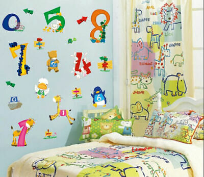 Large Animal Number Wall Stickers Nursery Kids Bedroom Early Learning Decor • 5.19£