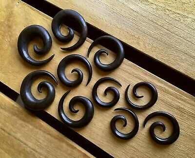 $17.95 • Buy PAIR Black Areng Wood Spiral Tapers Organic Plugs Tunnels Earlets Gauges