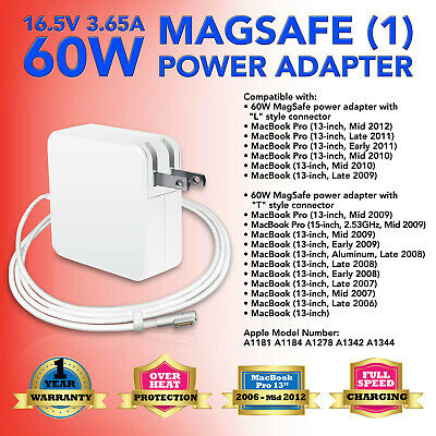$14.94 • Buy 60W 16.5V  Power Adapter Charger For APPLE MacBook Pro 13  A1184 A1181 2007 2008