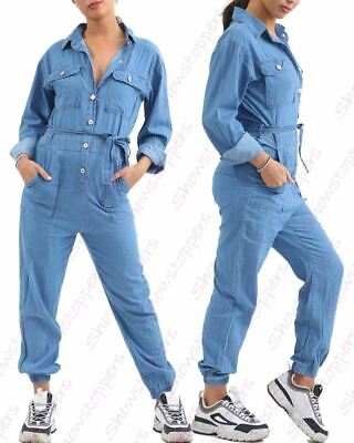 £24.95 • Buy Womens Jumpsuit Denim Boiler Suit Blue Size 10 12 14 8 All In One