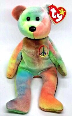 6bb8578e78e TY Beanie Baby NEON PEACE Bear In Acrylic Case MINT STATE Tags • 14.95