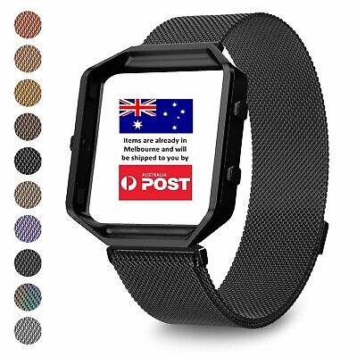 AU14.95 • Buy Milanese Magnetic Wrist Band Bracelet Strap + Metal Frame For Fitbit Blaze Watch