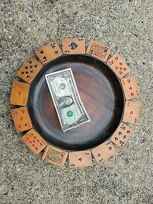$ CDN216.80 • Buy Tip Tray CARVED Playing Cards BLACK FOREST Wood Dish CASINO ADIRONDACK 11-3/4  D