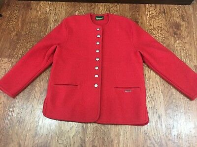 $30 • Buy Geiger Sweater Cardigan Jacket Women's Size 38 US 8 Red Pure New Wool Austria