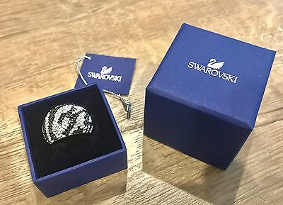 2befb68f1 NIB $270 Swarovski Chic Ring Zebra Black & Clear Crystal Size 52 US 6 S  5037429