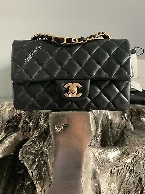 9f6eb9a9c426 Nwt Chanel Black Mini Classic Flap Bag Quilted Lamb Skin Gold Rectangle  France • 4,300.00$