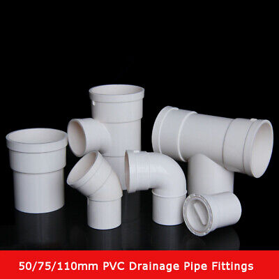 50/75/110mm PVC Drain Pipe Fittings 45/90 Degree Elbow, Straight Connector,Tee • 4.15£