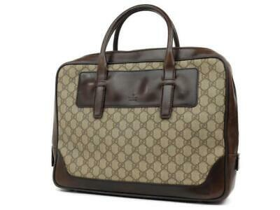 41ddda800 Gucci Supreme Monogram Attache Brown Leather Laptop Bag 224703 • 539.82$
