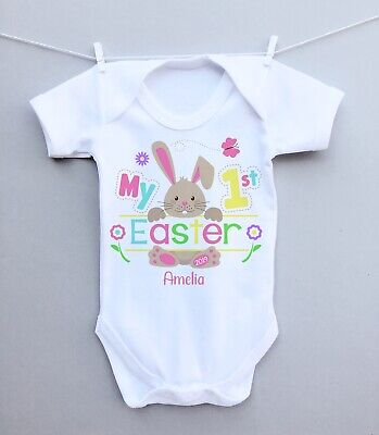 Personalised Baby Bodysuit Vest Baby Grow! My 1st Easter Bunny Pretty Gift • 6.99£