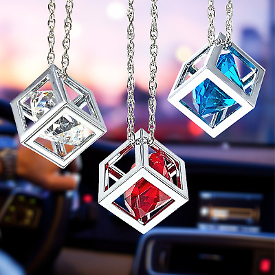 $19.99 • Buy Diamond Crystal Cube Rear View Mirror Car Charms, Bling Hanging Car Accessory