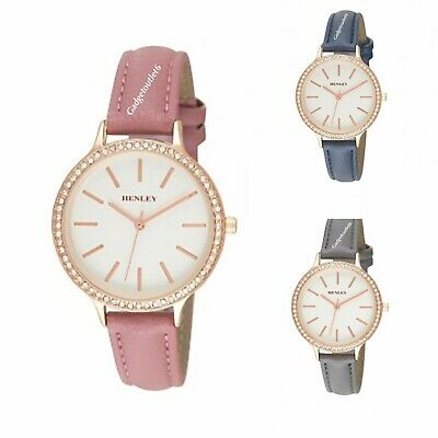 £14.99 • Buy Henley Women Diamante Watch Round Face Rose Gold Case White Dial  Faux Leather