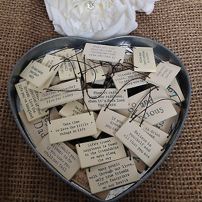 £1.75 • Buy East Of India Tiny Miniature Wooden SIGNS Messages Gift Tags Gorgeous Keepsake