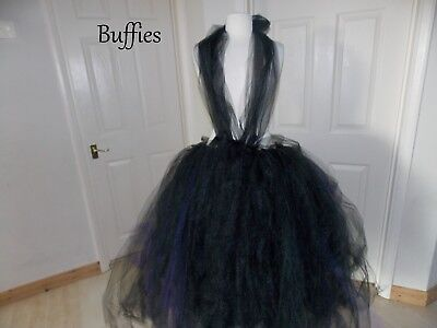 Long Tutu Tulle Skirt Dress  Black Purple Net Witch Vixen Goth Wedding Size 6-22 • 35£