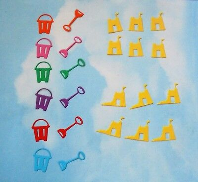 £1 • Buy Die Cut  Mini Bucket And Spade Sandcastle  X 24 Mixed Bright Colours Seaside