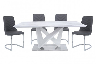 Marble Style Dining Table And 4 Chairs, Chrome Base Marble Dining Set • 899.99£