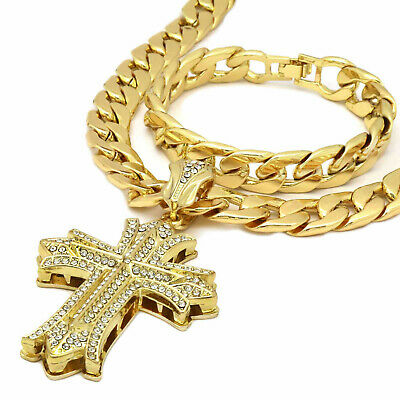 $29.99 • Buy Mens 14k Gold Plated  Thick CROSS Pendant  30  Cuban Chain And Bracelet