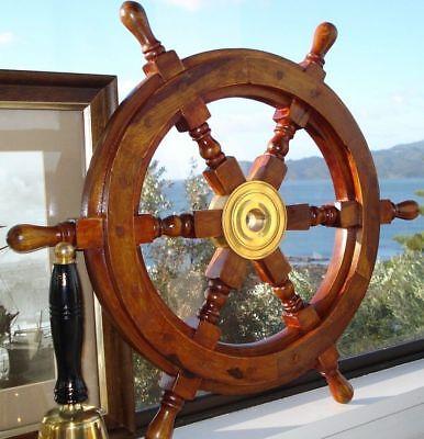 £29 • Buy 18  Durable Wooden Brass Ship Wheel For Nautical Pirate Themed Home Decor Brown