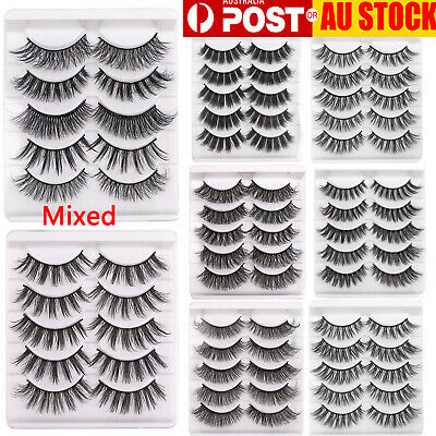 AU6.37 • Buy 5Pairs Long Natural Handmade False Eyelashes 3D Mink Makeup Fake Lash Extension