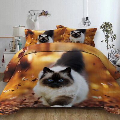 Cat Duvet Cover With PillowCase Quilt Cover Bedding Set Single Double King New • 18.95£