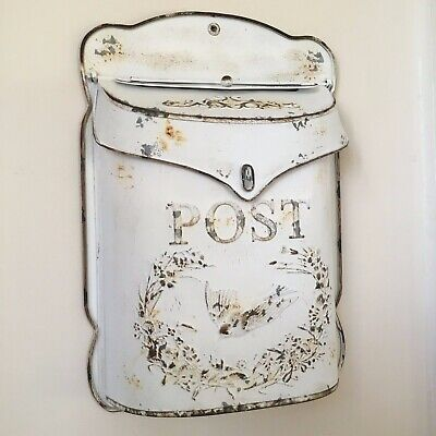 £39.99 • Buy Vintage White Wall Mounted Post Box, Outdoor Letter Box, Wedding Card Post Box