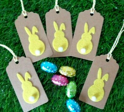Easter Bunny Gift Tags Pack 8 Yellow Rabbits Kraft Card Labels 9x4.5cm Gift Wrap • 2.45£