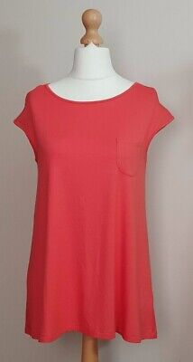 Yong Kim Modal Extended Sleeve Tunic With Patch Pocket & Pleat Back, UK12, Coral • 19.87£