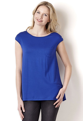 Yong Kim Modal Extended Sleeve Tunic With Patch Pocket & Pleat Back, UK14, Blue • 19.87£