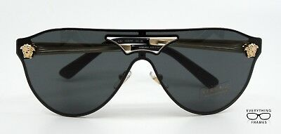 380f33d8617 Versace VE2161 1002 87 Gold With Dark Gray Aviator Sunglasses New Authentic  42 • 129.00
