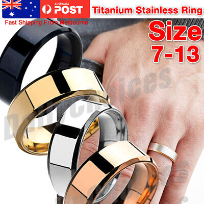 AU7.01 • Buy Mens Titanium Stainless Steel Ring Promise Engagement Wedding Ring Band Size8-11