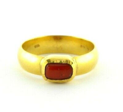 22ct Gold Touch Skin Ring With Real Coral Stone. • 807.20£