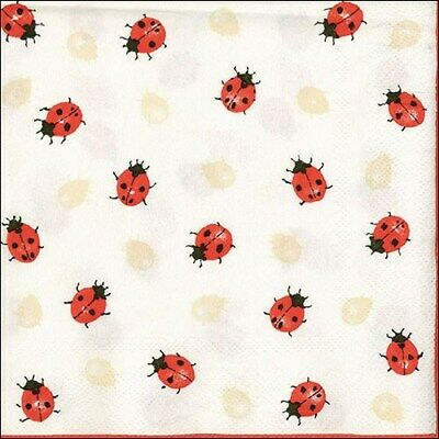 £2.50 • Buy 5  X  Paper Party Napkins Ladybirds Creme Pack Of 5 Luxury Serviettes