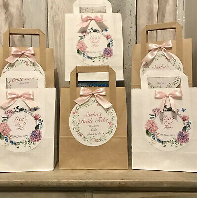 6 Personalised Favour Bags Hen Party Baby Shower Birthday Wedding Christening • 5.80£