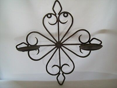 Antique Style Wrought Iron Sconce Double Pillar Candle Holders Wall Hanger • 35.54£