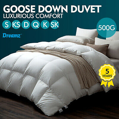 AU59.99 • Buy DreamZ Quilts Goose Down Quilt 500GSM Duvet Doona All Season Winter Queen King