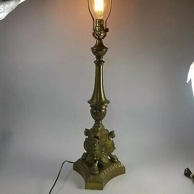 $74.99 • Buy Vintage Lamp Brass Ornate 3 Side Lion Cat Head Fenial Goth Victorian 34 In Rare