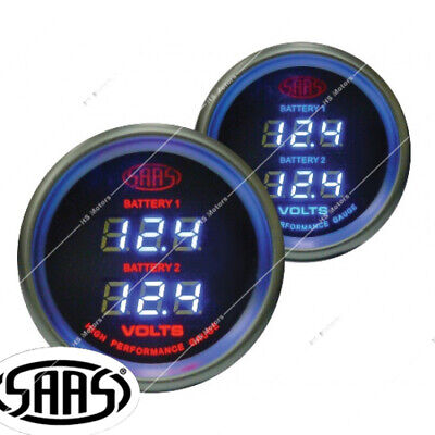 AU80.95 • Buy SAAS 52mm 2  Dual Battery Volt Gauge 8-18v Range Black Dial Face  Fitting Kit