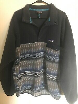 23b591b65fb Vintage 90s Patagonia Snap-T Synchilla Fleece Geometric Aztec Pattern -  Large • 50.00