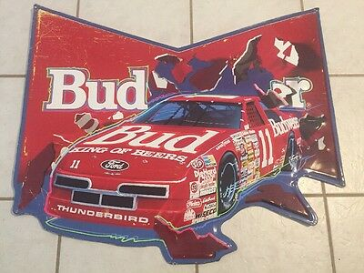 $ CDN112.80 • Buy Budweiser Bud Metal Sign Nascar #11 Geoff Bodine Bill Elliott Racing Bar Mancave