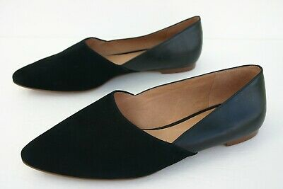 4fd4bb244c63 Madewell THE LIZBETH Pointy-Toe Flats In Suede And Leather True Black Sz 8 •