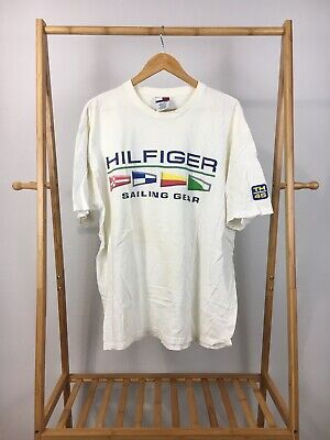 59ad8524 VTG Tommy Hilfiger Sailing Gear TH45 Spellout Flag Short Sleeve T-Shirt XL  USA •