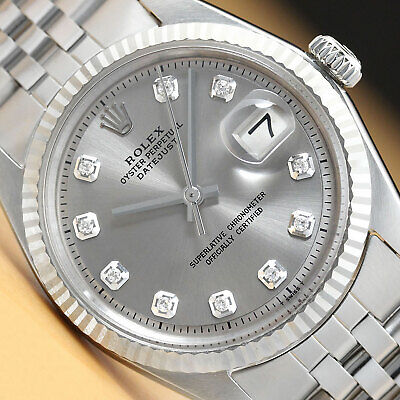 $ CDN5931.55 • Buy Genuine Rolex Mens Datejust Gray Diamond Dial Watch W/Original Rolex Band
