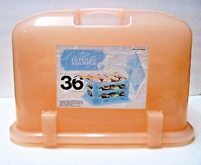 NEW The Cupcake Courier Caddy Case Holds 36 Cupcakes Peach • 52.98£