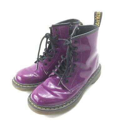 be412e57f5 Doc Dr Martens Youth Purple Delaney Size 2 Air Wair Side Zip Boots Kids  FLAW •