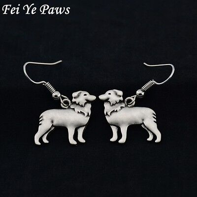 £2.99 • Buy Stunning Silver Tone Pair Of Border Collie Dog Earrings .With Organza Bag .....